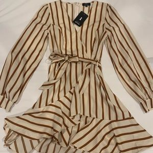 ASOS classic cream and camel striped dress